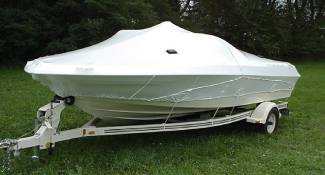 Small boat shrink wrapped